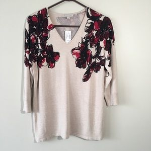 Dress Barn NWT Beige Blouse with Roses.
